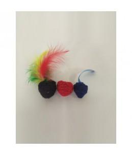 Pack de 3 boules au catnip - Rouge - Noir - Bleu