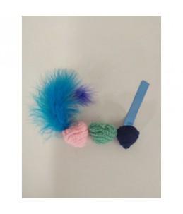 Pack de 3 boules au catnip - Rose - Bleu - Turquoise