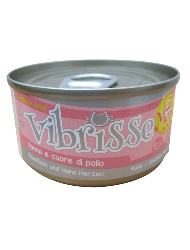Vibrisse Cat Menu - Thon et coeur de poulet - Boîte de 70 g