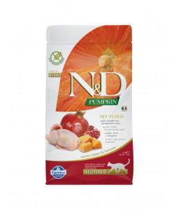 Farmina N&D Pumpkin - Feline Adult Neutered Caille, Potiron & Grenade - Sac 1.5 kg