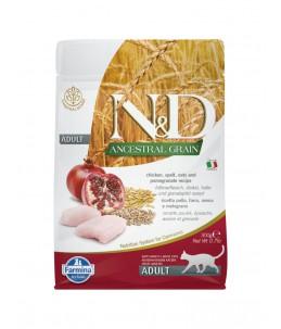 Farmina N&D Ancestral Grain - Feline Adult Poulet, Epeautre, Avoine & Grenade - Sac 300 g