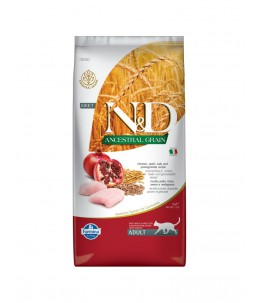 Farmina N&D Ancestral Grain - Feline Adult Poulet, Epeautre, Avoine & Grenade - Sac 5 kg