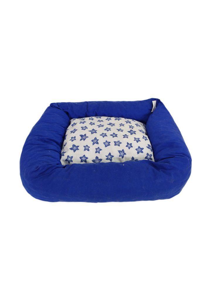 Couffin rectangulaire - bleu - fond avec motif fleurs bleues