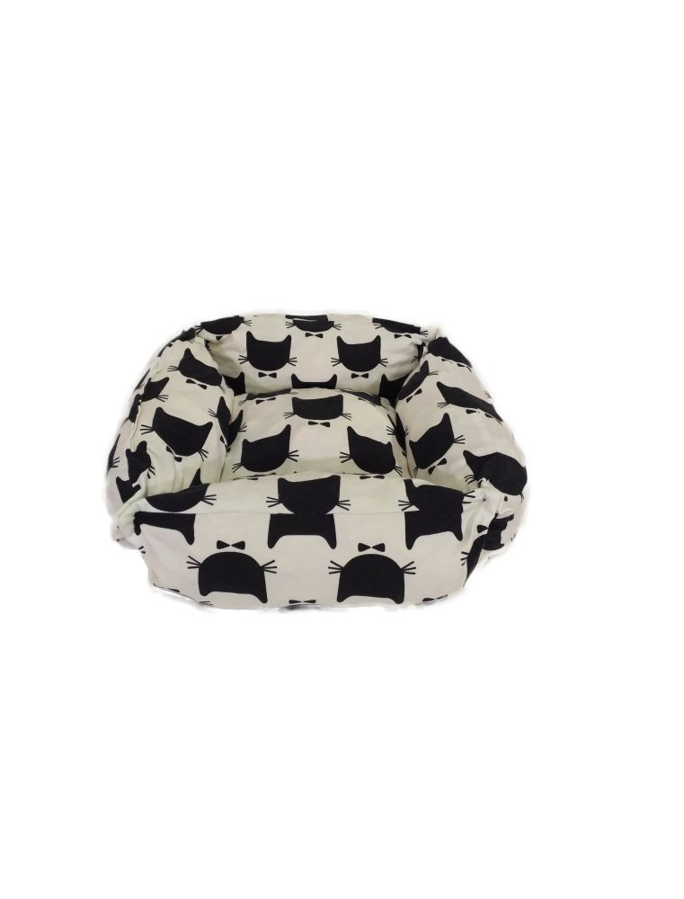 Couffin rectangulaire blanc, motifs chats noirs