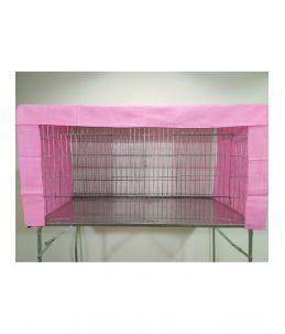 Rideaux de cage d'exposition - Rose - motif pois blancs