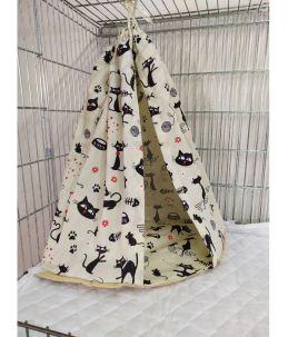 Tente à suspendre - beige - motif chats
