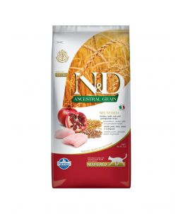 Farmina N&D Ancestral Grain - Feline Adult Neutered Poulet, Epeautre, Avoine & Grenade - Sac 10 kg