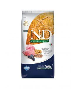 Farmina N&D Ancestral Grain - Feline Adult Agneau, Epeautre, Avoine & Myrtille - Sac 10 kg